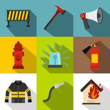Burning icons set, flat style Royalty Free Stock Photography