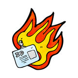 burning ID tag cartoon Royalty Free Stock Photo