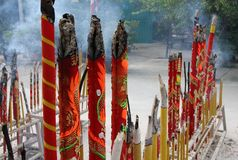 Burning Incense. Chinese Buddhist incense in Hong Kong Stock Image