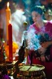 Burning Incense. Hindu Festival at the Sri Maha Mariamman Indian Temple on Silom Road, Bangkok, Thailand Royalty Free Stock Photo