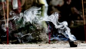 Burning incense.. Royalty Free Stock Photos