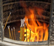 Burning incense in buddhist monastery in Hong Kong Stock Image