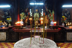 Burning incense candles Stock Photography