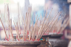 Burning incense in Chinese temple Stock Photography