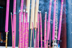 Burning incenses. Details of burning incenses in the censer Royalty Free Stock Image