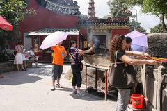 Burning incense in mazu temple in macao Stock Photos