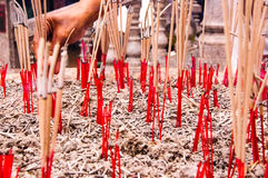 Burning incense for pay respect to god Royalty Free Stock Photography