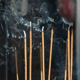 Incense smoke in japanese temple stock image