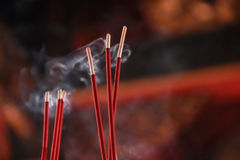 Burning incense stick. Burning red incense sticks in Chinese temple stock photos