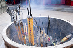 Burning incense sticks Stock Images