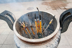 Burning incense sticks Royalty Free Stock Photo