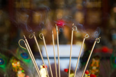 ฺBurning incense sticks Royalty Free Stock Image