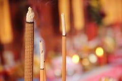 Burning incense sticks closeup Stock Image