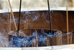 Burning Incense Sticks with Smoke Royalty Free Stock Images