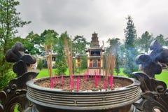 Burning incense sticks. Thien Mu pagoda. Hue. Vietnam royalty free stock photo