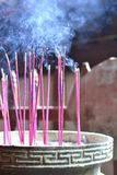 Chinese temple. Burning incense sticks in a traditional chinese temple Royalty Free Stock Photo