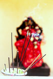 Burning incense in temple Royalty Free Stock Photography