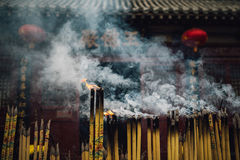 Burning incense in temple. Kaifeng City, China Stock Images