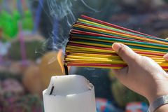 Burning the incense to worship Stock Photography