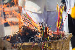 Burning the incense to worship Royalty Free Stock Photo