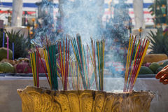 Burning the incense to worship Stock Image