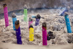 Burning Incense In Urn Stock Photo