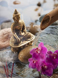 Burning incense in water element for religious symbol Royalty Free Stock Images