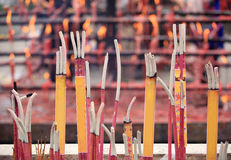 Burning incenses in temple Royalty Free Stock Photos