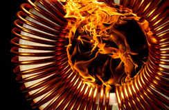Burning inductor Royalty Free Stock Image