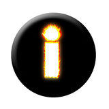 Burning internet or info button. Black circle burning internet or info button Royalty Free Stock Image
