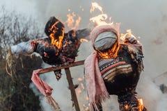 Free Burning Jack-Straws Of Maslenitsa Dressed In Women`s Clothes Stock Images - 174340674