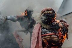 Free Burning Jack-Straws Of Maslenitsa Dressed In Women`s Clothes Royalty Free Stock Photos - 174340688