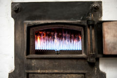 Burning jets in an old bakery oven Royalty Free Stock Images