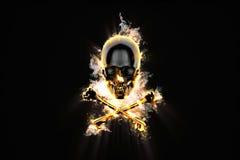 Burning Jolly Roger. Burning Jolly Roger on black background Stock Photos
