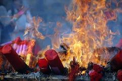 Burning joss sticks. On fire Stock Images