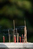Burning joss sticks Royalty Free Stock Photos
