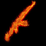Burning kalashnikov ak47. Silhouette fire on black Royalty Free Stock Photography