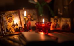 Burning lamp with orthodox icons Royalty Free Stock Images
