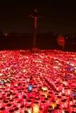 Burning lampions illuminating cemetery Stock Photography