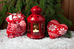 Burning lantern and christmas decoration. Christmas composition with holiday decoration Royalty Free Stock Images