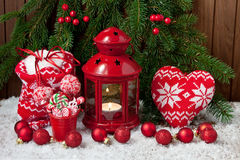 Burning lantern and christmas decoration. Christmas composition with holiday decoration Royalty Free Stock Image