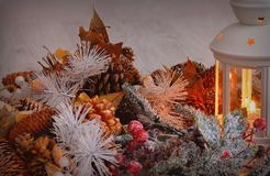 Burning lantern with christmas decorations Stock Photography