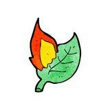 Burning leaf cartoon Royalty Free Stock Photo