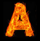 Burning letters as alphabet type A. Burning letters as alphabet type Royalty Free Stock Photos