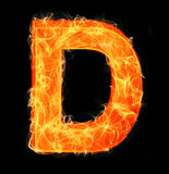 Burning letters as alphabet type D. Burning letters as alphabet type Royalty Free Stock Image