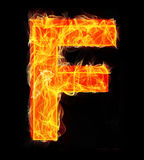 Burning letters as alphabet type F. Burning letters as alphabet type Royalty Free Stock Image