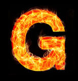 Burning letters as alphabet type G. Burning letters as alphabet type Royalty Free Stock Images