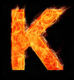 Burning letters as alphabet type K. Burning letters as alphabet type Stock Photos
