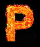 Burning letters as alphabet type P Stock Images