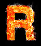 Burning letters as alphabet type R. Burning letters as alphabet type Royalty Free Stock Images